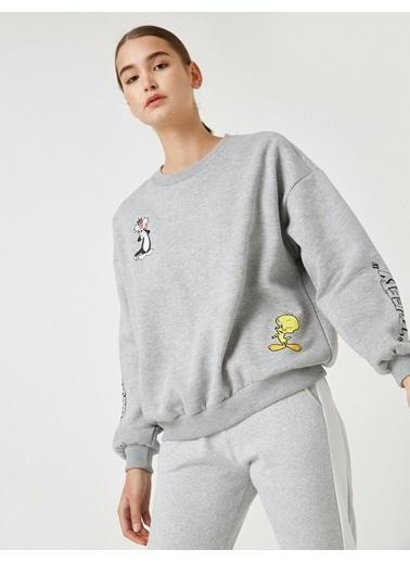 Koton Warner Bros Lisansli Tweety Sweatshirt Gri